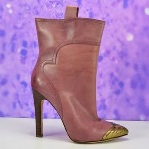Nine West Pink Leather Boots Vaflume